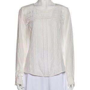 Veronica Beard White Lace Trim Silk Blouse
